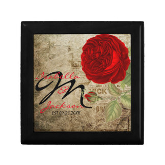 Monogram Vintage Red Rose on Grunge Background Gift Box