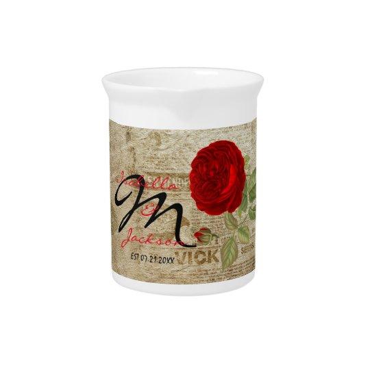 Monogram Vintage Red Rose Pitcher