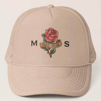 Monogram. Vintage Red Rose Tattoo. Trucker Hat