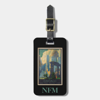 Monogram Vintage Travel Chicago / New York Lines Luggage Tag