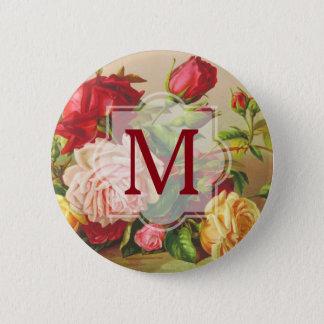 Monogram Vintage Victorian Roses Bouquet Flowers 6 Cm Round Badge