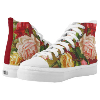 Monogram Vintage Victorian Roses Bouquet Flowers High Tops