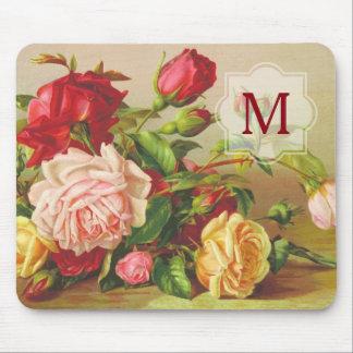 Monogram Vintage Victorian Roses Bouquet Flowers Mouse Mat