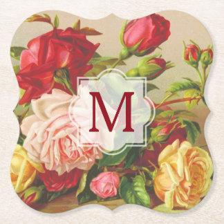 Monogram Vintage Victorian Roses Bouquet Flowers Paper Coaster