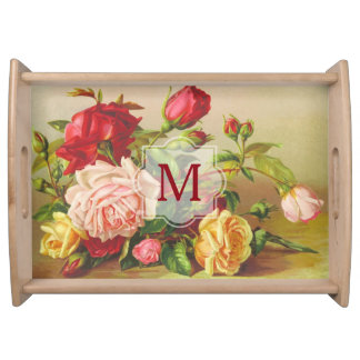 Monogram Vintage Victorian Roses Bouquet Flowers Serving Tray