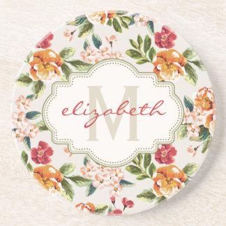 Monogram Vintage Victorian Watercolor Floral Coaster