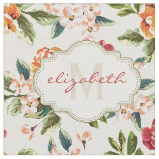 Monogram Vintage Victorian Watercolor Floral Fabric