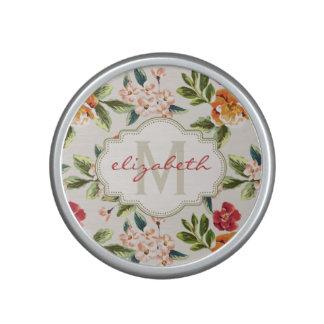 Monogram Vintage Victorian Watercolor Floral Speaker
