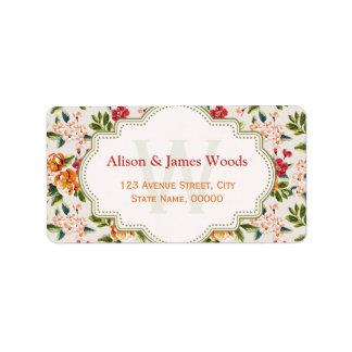 Monogram Vintage Victorian Wedding Floral Label