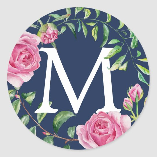 Monogram Vintage Watercolor Floral Navy Blue Classic Round Sticker