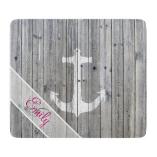 Monogram Vintage White Nautical Anchor Gray Wood Cutting Board