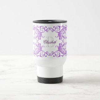 Monogram Violet Damask Travel Mug
