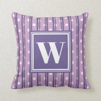 Monogram Violet Modern Stripe Dot Stylish Decor Cushion