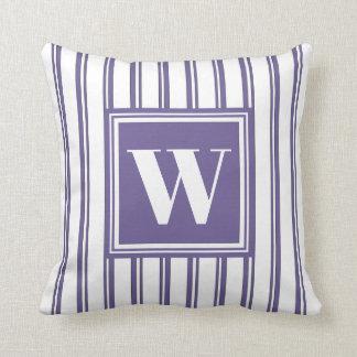 Monogram Violet Modern Stripe Stylish Decor Cushion