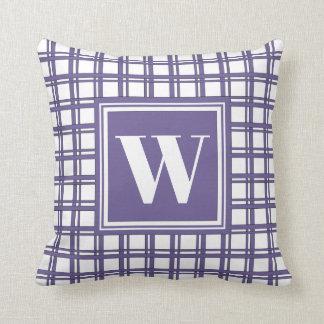Monogram Violet Modern Tartan Plaid Stylish Decor Cushion