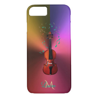 Monogram Violin Music Notes Metallic iPhone 7 Case
