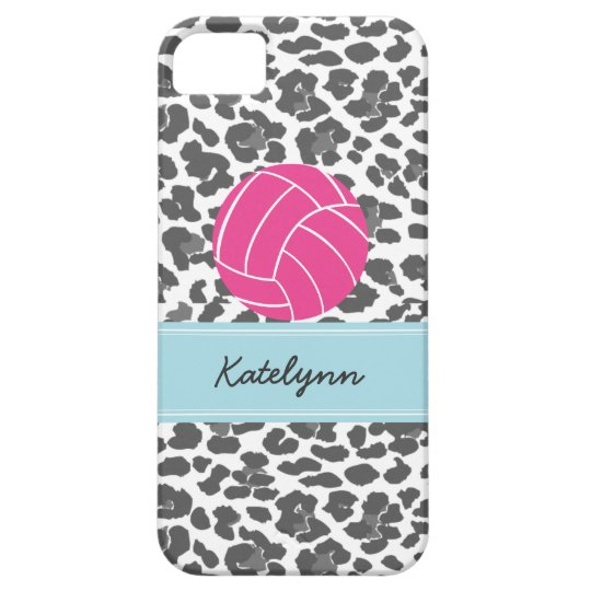Monogram Volleyball Grey Leopard Print Phone Case