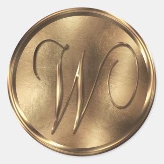 Monogram W Bronze Round Sticker