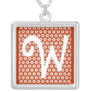 Monogram W Square Pendant Necklace