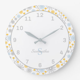 Monogram Wall Clock Scandinavian Floral