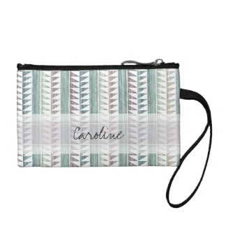 Monogram Watercolor Aqua Geo Ikat Stripes Pattern Coin Purse