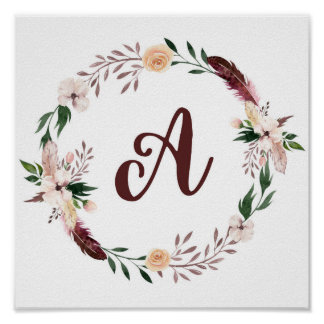 Monogram watercolor boho wreath poster