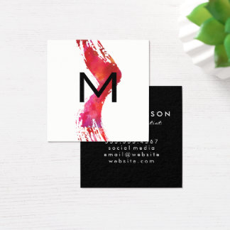 Monogram Watercolor brush Square Business Card