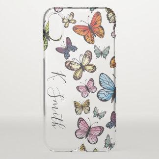 Monogram. Watercolor Butterflies. iPhone X Case