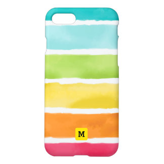 Monogram. Watercolor Cute Rainbow Colors. iPhone 8/7 Case