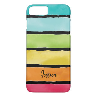 Monogram. Watercolor Cute Rainbow Colors. iPhone 8 Plus/7 Plus Case