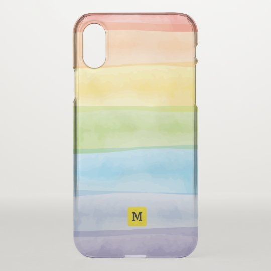 Monogram. Watercolor Cute Rainbow Colours. iPhone X Case