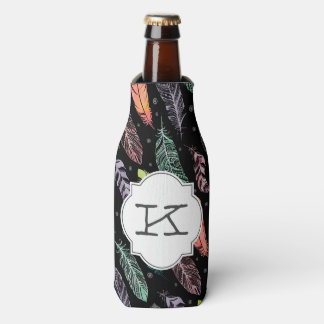 Monogram Watercolor Feathers Bottle Cooler