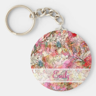 Monogram Watercolor Floral Pattern Abstract Sketch Key Ring