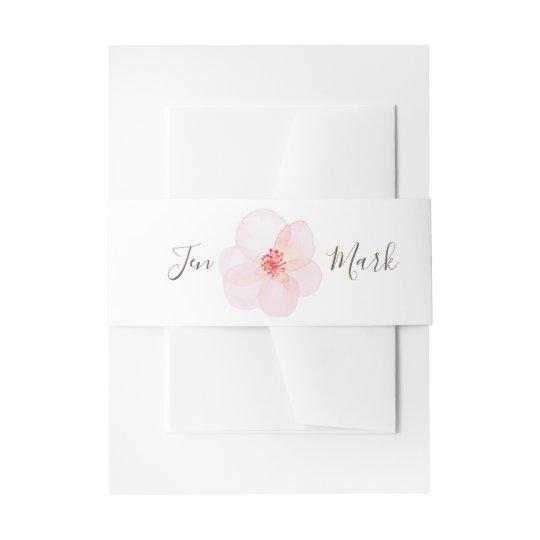 Monogram. Watercolor Floral Spring Wedding Invitation Belly Band