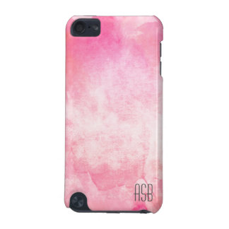 Monogram watercolor hipster pastel pink create own iPod touch 5G cases