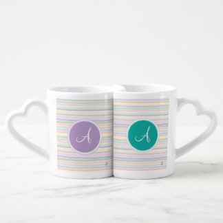 Monogram Watercolor lines Coffee Mug Set