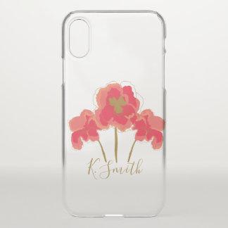 Monogram. Watercolor Poppy Flowers. iPhone X Case