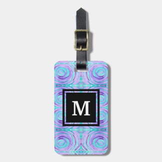 Monogram Watercolor Purple Turquoise Swirl Painted Luggage Tag