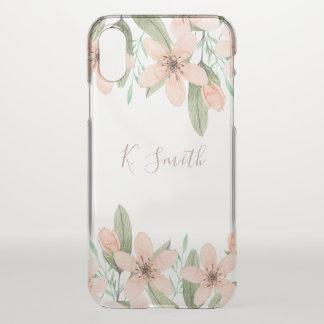 Monogram. Watercolor Spring Flowers. iPhone X Case