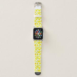 Monogram. Watercolor Summer Lemons. Apple Watch Band