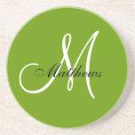 Monogram Wedding Anniversary Coaster Green