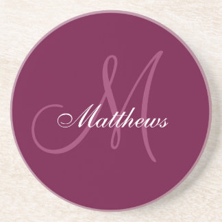 Monogram Wedding Anniversary Coaster Wine