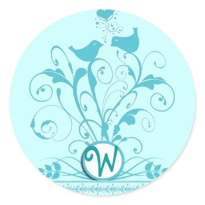 Monogram Wedding Birds Hearts Swirls Aqua Blue by samack