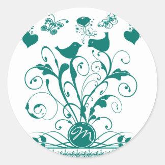 Monogram Wedding Birds Hearts Swirls Deep Aqua Round Sticker