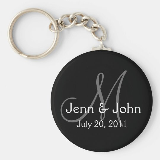 Monogram Wedding Bride Groom Date Black Key Chain
