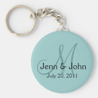Monogram Wedding Bride Groom Date Blue Key Chain