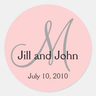 Monogram Wedding Bride Groom Date Pink Sticker