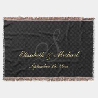 Monogram Wedding Date Bride Groom Name Black Check