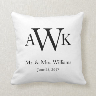 Monogram Wedding Date Pillow