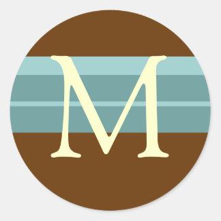 Monogram Wedding Envelope Seal Brown Blue Ivory Round Sticker
